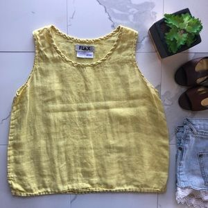 Flax Yellow Linen Sleeveless Tank Crop Top
